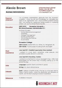 student resume format business administration resume examples ea throughout basic resume template