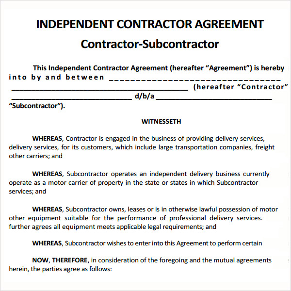 subcontractor agreement template