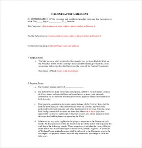 subcontractor agreement template residential subcontractor agreement