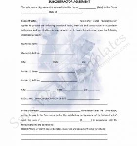 subcontractor agreement template subcontractor agreement template part