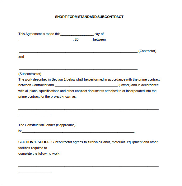 subcontractor contract template