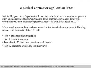summer job application electrical contractor application letter