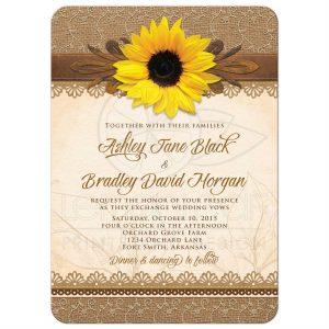 sunflower wedding invitations roundedrectangle rustic burlap lace and wood sunflower wedding invitation front
