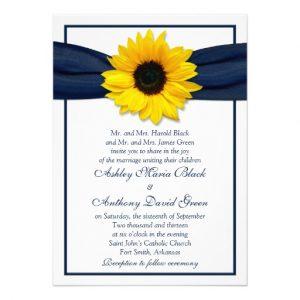 sunflower wedding invitations sunflower navy blue ribbon wedding invitation rdfbaddafece imtzy byvr