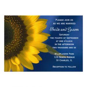 sunflower wedding invitations sunflower on blue wedding invitation pcfl