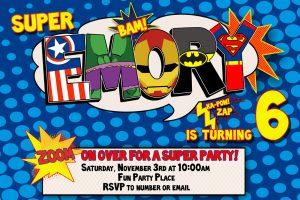 superhero birthday invitations s p i w