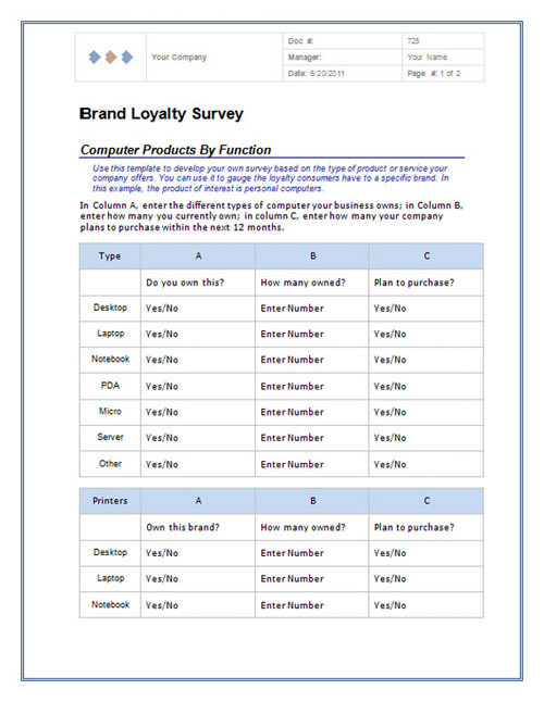 survey template word