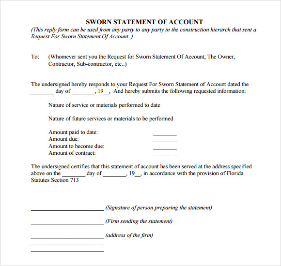 sworn statement template