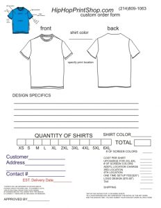 t shirt order form template order form template