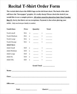 t shirt order form template recital t shirt order form