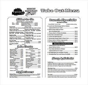 take out menu template print take out menu template download