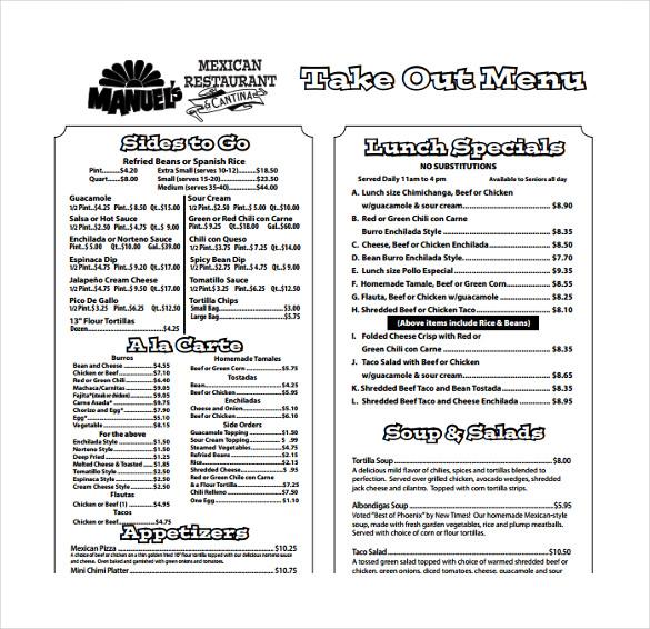 take out menu template