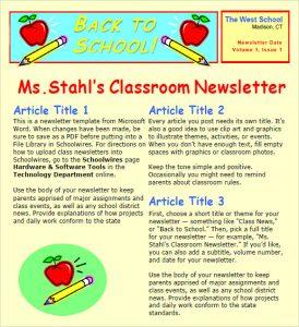 teacher newsletter templates high school classroom newsletter template