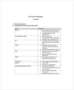 team meeting agenda template core team meeting agenda example