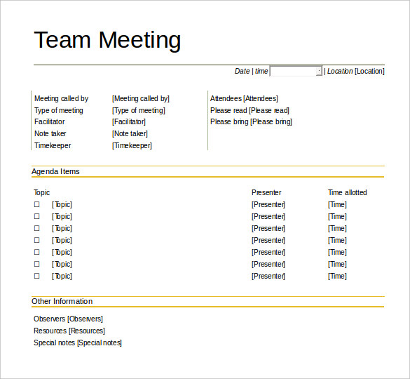 team meeting agenda template