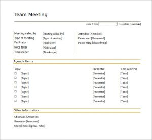 team meeting agenda template free team meeting agenda template word doc download