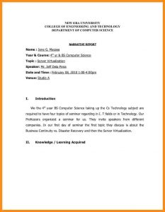 technical resume template how to write a simple report sample narrative report for seminars cbcud