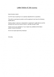 template business letter letter notice of job opening