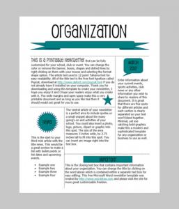 template for newsletter free printable newsletter templates