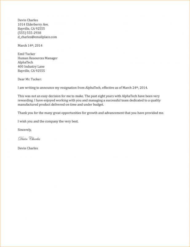 template for resignation letter