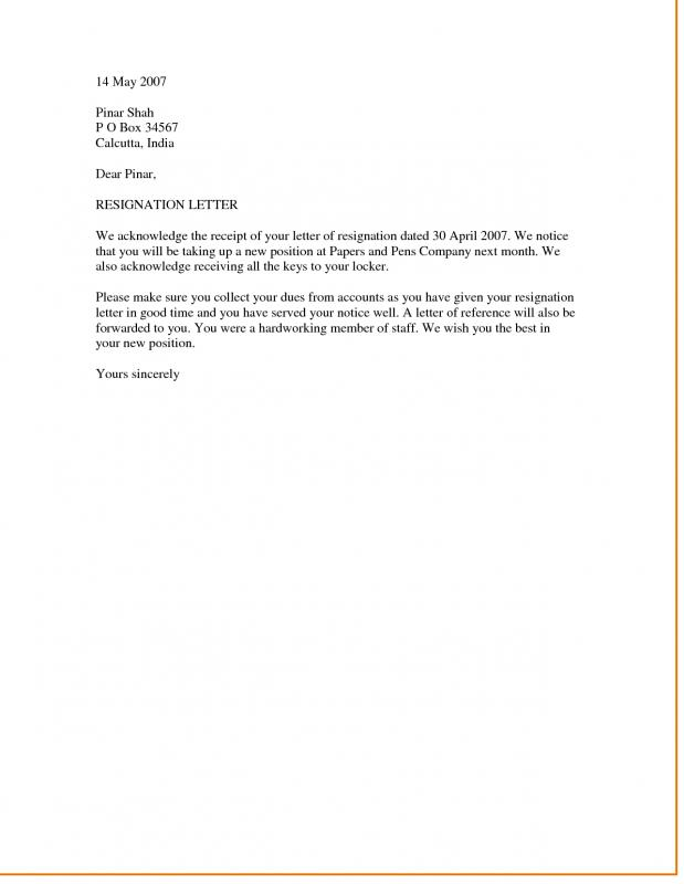 Template Resignation Letter | Template Business