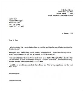 template resignation letter resignation letter no notice in pdf