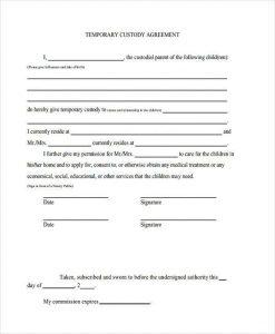 temporary custody agreement temporary custody agreement form