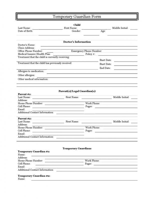 temporary guardianship agreement form