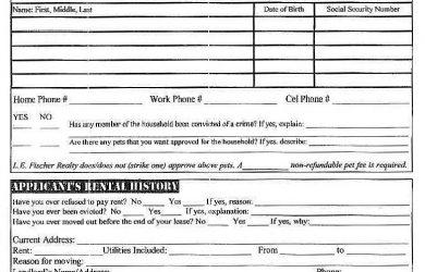 tenant application form free rental application form