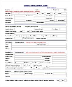 tenant application form tenant rental application form