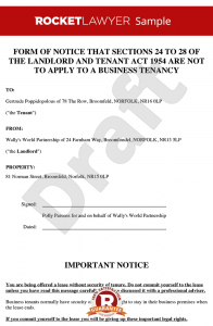 tenant eviction notice landlords notice to exclude security of tenure
