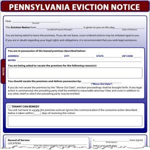 tenant eviction notice pennsylvania eviction notice