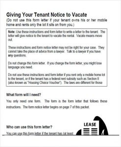 tenant notice to vacate landlord notice to vacate form