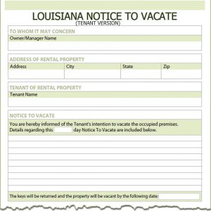tenant notice to vacate louisiana tenant notice to vacate