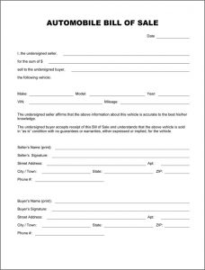 tennessee boat bill of sale automobile bill of sale form