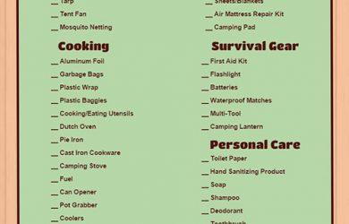 tent camping checklist camping checklist