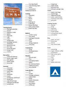 tent camping checklist campingchecklistcopy