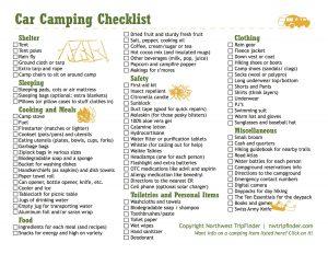 tent camping checklist carcampingchecklist