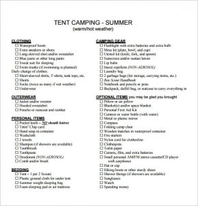 tent camping checklist sample tent camping checklist pdf format download