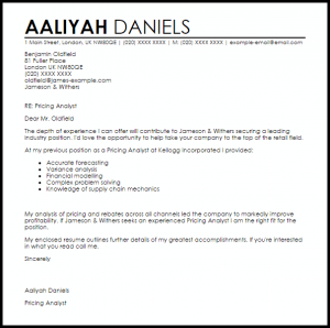 termination letter samples pricing analyst