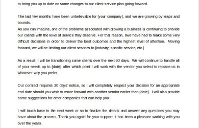 termination letter template download termination of services letter to customer