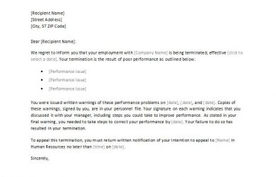 termination letter to employee employee termination letter