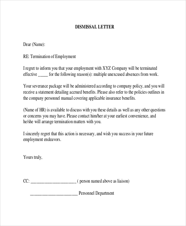 termination letter to employee