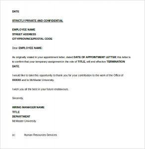 termination letter to employee seasonal job termination letter to employee word format