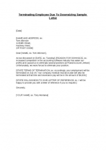termination letter to employee terminating employee due to downsizing sample letter