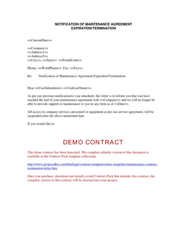 termination of contract letter