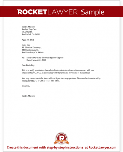 termination of contract letter sample notice of contract termination form template