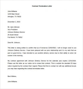 termination of contract letter termination of services contract letter template download