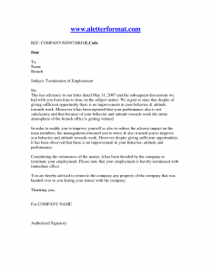termination of employment letter letter of termination of employment