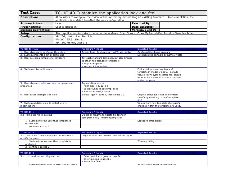 test case template excel